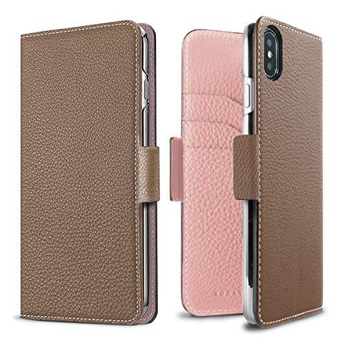 - BONAVENTURA Diary Magnet Leather Wallet Case [Compatible with iPhone Xs/X, Etoupe & Sakura]