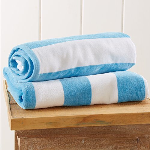 Great Bay Home 2-Pack 100% Cotton Plush Cabana Stripe Velour Beach Towel (30x60) Brand. (Air Blue)