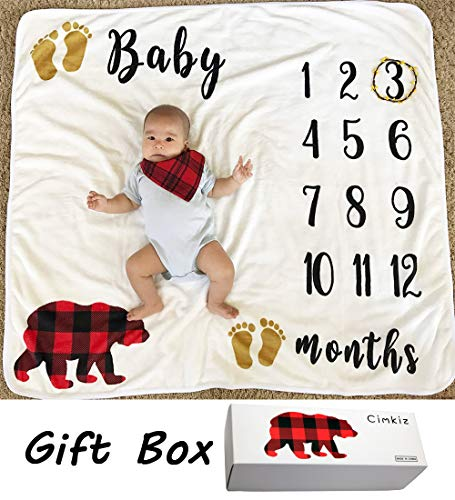Baby Monthly Milestone Blanket for Boy Girl, Large Personalized Photography Background Blankets, Thick Fleece for Mom Newborn Baby Shower Gifts + Bib + Frame (Bear Blanket - with Gift Box)