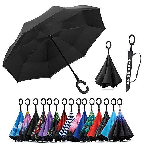 XIAOMOGU Creative Double Layer Inverted Umbrella Cars Reverse Umbrella, Windproof UV Protection Inverted Umbrella for Car Rain Outdoor Upside Down Umbrella with C-Shaped Handle (Creative Umbrella)