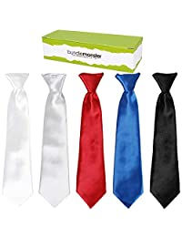 Bundle Monster 5pc Solid Color Boys Formal Pre-Tied Polyester Neckties - Set 1