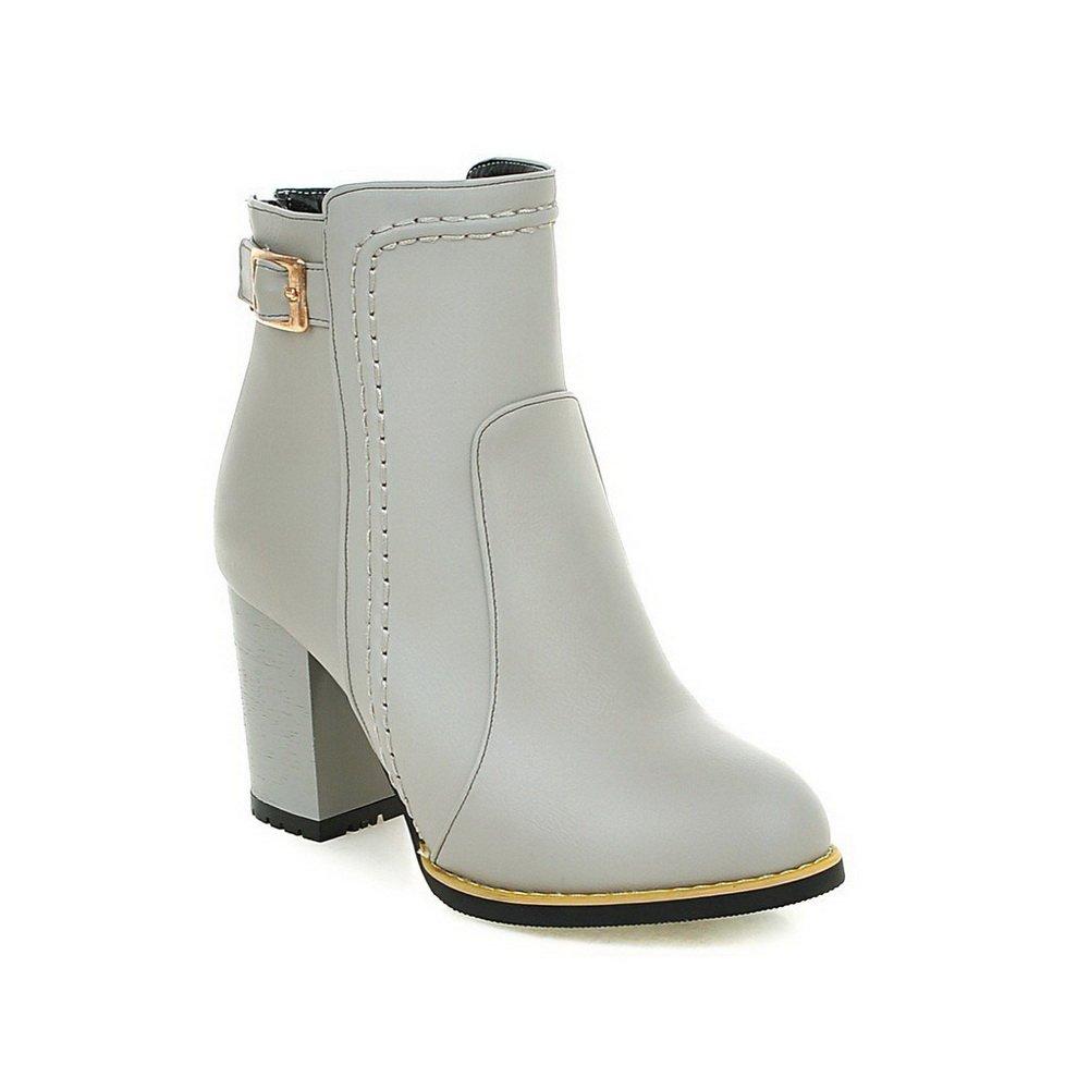 BalaMasa Ladies Studded Rhinestones Metal Buckles Thread Chunky Heels Gray Imitated Leather Boots - 7.5 B(M) US by BalaMasa