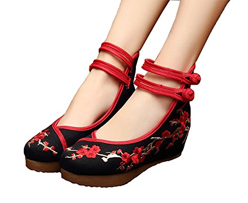 AvaCostume Chinese Plum Embroidery Rubber Sole Platform Wedge Sandals for Qipao Cheongsam, Black, 37 ()