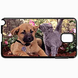 Customized Cellphone Case Back Cover For Samsung Galaxy Note 3, Protective Hardshell Case Personalized Cats And Dogs Together Black