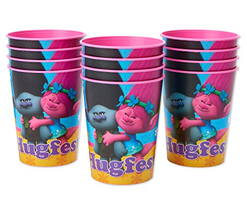American Greetings Trolls Plastic Cups Party, Stadium Cup, 12-Count by American Greetings