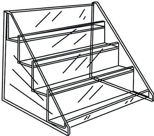 4 Tier Retail Shelf for Countertop Impulse Items, 15.5 x 11 x (Acrylic Retail Displays)
