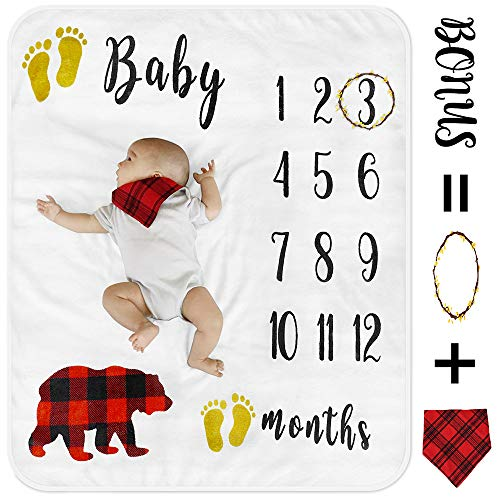 (Baby Monthly Milestone Blanket with Free Bonus, Organic Fleece Personalized Photography Background Blankets, Large for Newborn Baby Shower Gifts + Bib + Frame (Bear Blanket, 47''x40''))