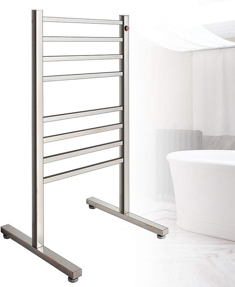 AEEHFENG Freestanding Drying Rack,Heated Towel Rack Free Standing,Hotel Home Bathroom Stainless Steel Space Saving Cloth Towel Heated Warmer Rack,Portable Dryer