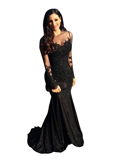 d7feea3695265 Sisjuly Women's Illusion Lace Appliques Crystal Beaded Mermaid Dress ...