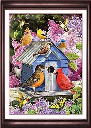 9.84x 11.81 DIY Handwork Store 5D Handmade AB Drills Diamond Painting Kit Paint By Numbers Full Round Rhinestones Soft Feeling Canvas Spring Birdhouse Pattern Cross Stitch Art Crafts Gift
