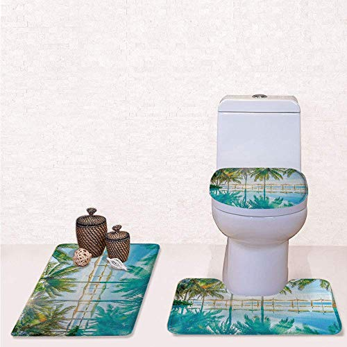 - Comfort Flannel 3 Pcs Bath Rug Set,Contour Mat Toilet Seat Cover,Pool by The Beach with Seasonal Eden Hot Sunny Humid Coastal Bay Photography with Green Blue,Decorate Bathroom,Entrance Door,Kitchen,b
