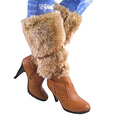 Humble 15 by Bamboo Chestnut Brown Midcalf Fur Shaft High Heel Boots