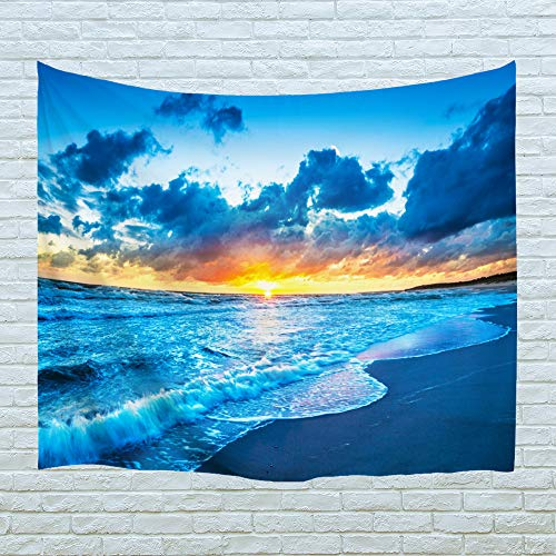 XINYI Home Wall Hanging Nature Art Polyester Fabric Sea Beach Theme Tapestry, Wall Decor for Dorm Room, Bedroom, Living Room, Nail Included - 80