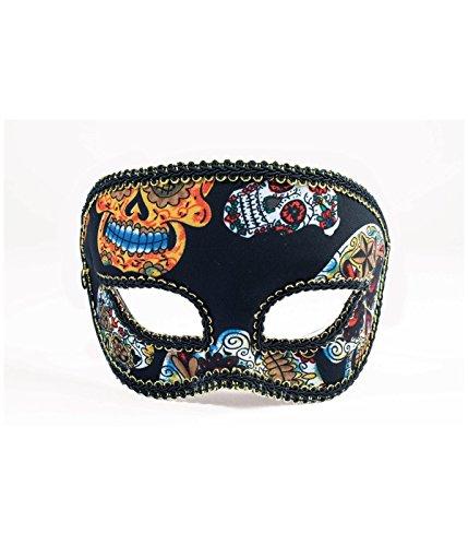 Forum Novelties Men's Mask-Day of Dead-Half-Male, Black, Standard