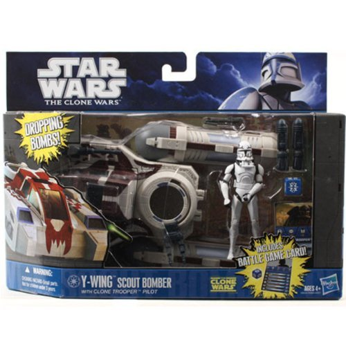 - Y-Wing Scout Bomber with Rebel Pilot Star Wars Clone Wars Class I Fleet Vehicle