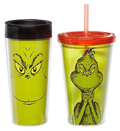 Dr. Seuss Grinchmas 16 Oz. Plastic Travel Mug & 18 Oz. Acrylic Travel Cup Gift Set by Vandor