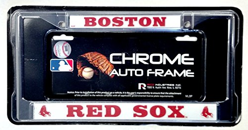 Boston Red Sox BOLD Design Metal Chrome License Plate Tag Frame Cover (Boston Red Sox License Plate Frame)