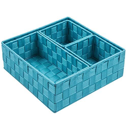 Posprica Woven Storage Box Cube Basket Bin Container Tote Organizer Divider for Drawer,Closet,Shelf, Dresser,Set of 4 (Aqua)