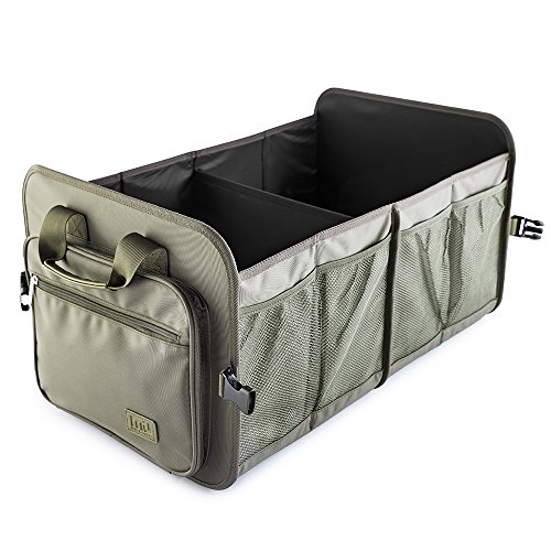 Foldable Car Trunk Organizer Washable Automotive Waterproof Storage Box Suitable for SUV, Army Green ()