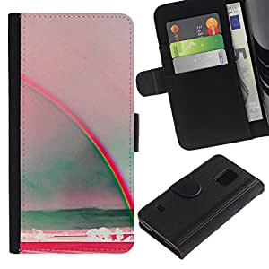 A-type (Rainbow Art Sun Summer Sea Red Teal) Colorida Impresión Funda Cuero Monedero Caja Bolsa Cubierta Caja Piel Card Slots Para Samsung Galaxy S5 V SM-G900