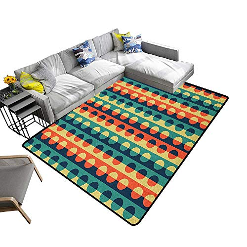 - Geometric Circle Household Decorative Floor mat Pop Art Style Vertical Striped Half Pattern Ring Forms Retro Poster Print 70