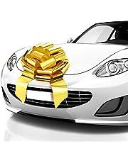 Zoe Deco Big Car Bow (Gold, 46 cm / 18 inch), Gift Bow, Giant Bow for Car, Birthday Bow, Huge Car Bow, Big Gold Bow, Bow for Gifts, Christmas Bow for Cars, Gift Wrapping, Big Gift Bow