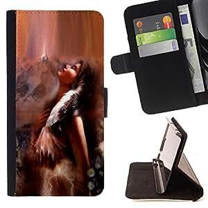 BullDog Case - FOR/Samsung Galaxy S3 III I9300 / - / indian girl woman brown nature feather art /- Monedero de cuero de la PU Llevar cubierta de la caja con el ID Credit Card Slots Flip funda de cuer