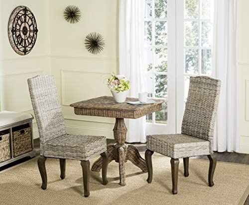 Safavieh Home Collection Milos White Wash Wicker 18-inch Dining Chair Set of 2