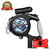 Retractable Dog Leash, 16 ft Dog Walking Leash for Medium Large Dogs up to 110lbs, LED Light &Dog Waste Dispenser Bags Included, Tangle Free, One Button Break & Lock, Black