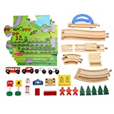 Toy Trains for 1 Year olds,MeiLiio Kids Rail Overpass Wooden Block Toys Creative Cartoon City Traffic Scene Building Block Kits with Toy Cars Educational Toy Gift for Children Toddler Kids Girls Boys