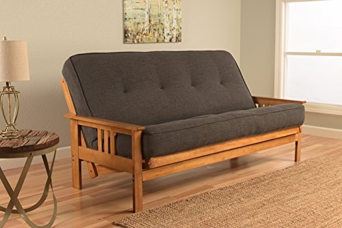 (Kodiak Furniture KFMOBTLCHALF5MD3 Monterey Futon Set with Butternut Finish Full Linen Charcoal)