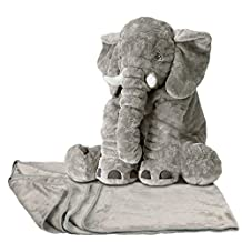 YunNasi Baby Cushion Long Nose Plush Elephant Toy Pillows 20 Inches,Stuff Animal Plush (Grey+Blanket)