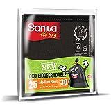Sanita Tie Bags, 30 Gallons, 25 Bags, Oxo-Biodegradable, Black