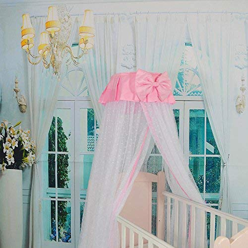 RuiHome Dome Style Hanging Baby Mosquito Net Princess Girls Bed Canopy with Pink Bowknot Decor, Netting with Bracket by RuiHome (Image #3)