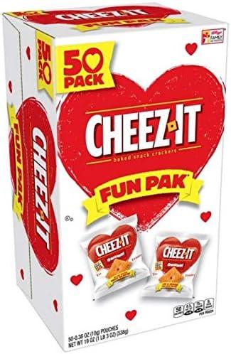 Cheez-It Valentine's Fun Pak チーズイカバレンタイン楽しいパックチーズ風味クラッカー10gx50(500g) [並行輸入品]