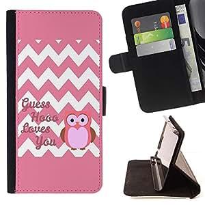 For LG G4 Stylus / G Stylo / LS770 H635 H630D H631 MS631 H635 H540 H630D H542 Case , Chevron Cita rosada del búho Amor Usted Blanca- la tarjeta de Crédito Slots PU Funda de cuero Monedero caso cubierta de piel