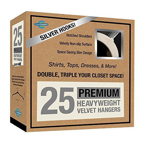 Closet Complete Premium Quality, True-Heavyweight, Virtually-UNBREAKABLE Velvet Hangers, Ultra-Thin, Space Saving, No Slip, Best for SHIRT, DRESS, LINGERIE, 360° SPIN, Chrome Hooks, Ivory, Set of 25