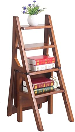 Qi Tai Silla Plegable Escalera Inicio estantería Completamente en Madera Silla de la Escala de Doble propósito multifunción Paso Rack de Almacenamiento de heces Escalera telescópica: Amazon.es: Hogar