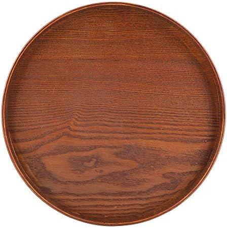 耐久性のあるサービングトレイ、丸い天然木サービングトレイ木製プレート茶食品サーバー料理水ドリンク大皿、腐敗耐性水大皿(30*30cm)