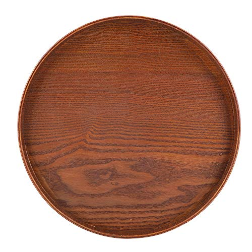 (Round Natural Wood Serving Tray Tea Coffee Snack Food Meals Serving Tray Anti-Slip Brown Wooden Plate Dishes Water Drink Platter With Raised Edges(3030cm))