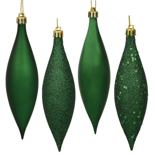 Vickerman N500124 Finial 4 Finish (Shiny, Matte, Glitter and Sequin) with Asst Shatterproof 8/Clear Acetate Box, 5.5