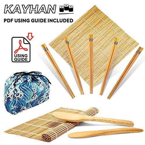 100% Natural Bamboo Sushi Making Kit - 2 Sushi Rolling Mats, 1 Rice Spreader, 1 Paddle, 5 Pairs of Chopsticks, 1 Storage Bag, 1 Beginner Guide PDF for DIY Makers Easy & Fun (Blue Wave)