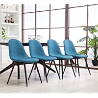 Roundhill Furniture C008BU Lassen Modern Contemporary Fabric Dining Chairs, Blue