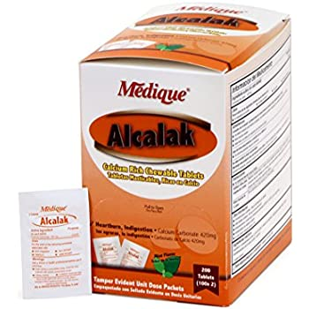 Medique Products 10147 Alcalak Antacid Tablets, 100-Packets of 2, Chewable