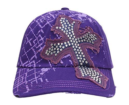 Beaded Cross Cap - TopHeadwear Beaded Cross Distressed Adjustable Baseball Cap - Purple