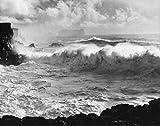 Waves breaking on rocks in an ocean, Iceland 30x40 photo reprint