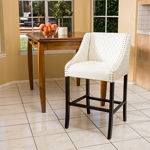 Elegant Modern Quilted Off White Leather Bar Stool with Chrome and Wood Base with Silver Metal Nailhead Trim Includes ModHaus Living (TM) Pen