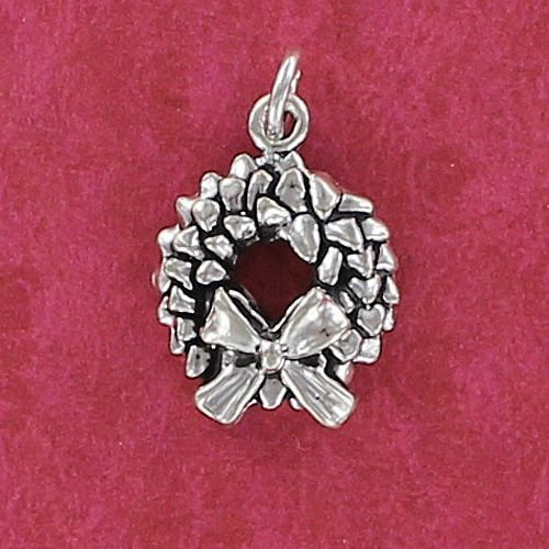 Pendant Jewelry Making Christmas Wreath Charm Sterling Silver for Bracelet Garland Bow Door Pine