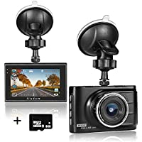 Aisdom 1080P FHD Dash Cam with 8GB Memory Card, Dash Camera For Cars Car DVR, 3.0 LCD Screen, 140 Degree Wide-Angle Lens, G-Sensor, Night Vision, WDR, Parking Guard, Loop Recording