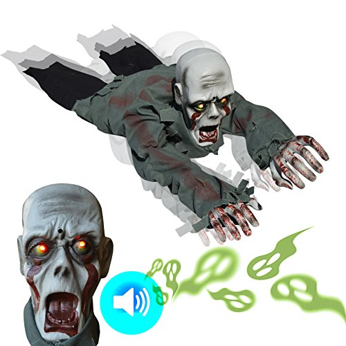 BenefitUSA Creeping Bloody Zombie Ghost Battery Operated Halloween Crawling Prop Haunted House Yard Scary Decor ()